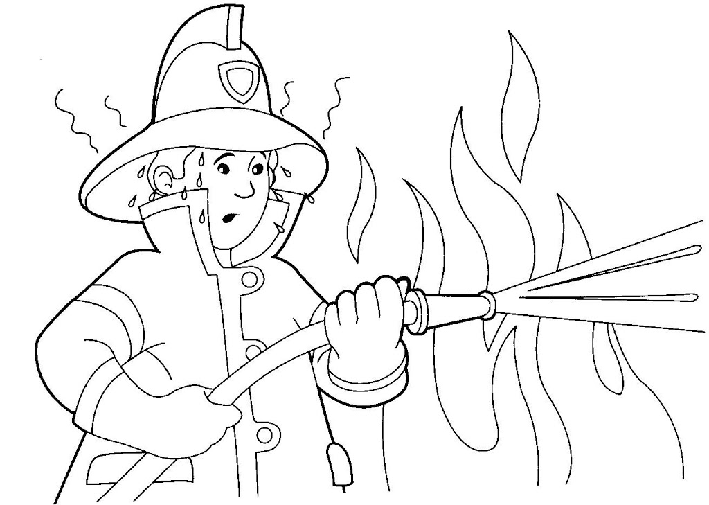 Dibujos para colorear de oficios bombero