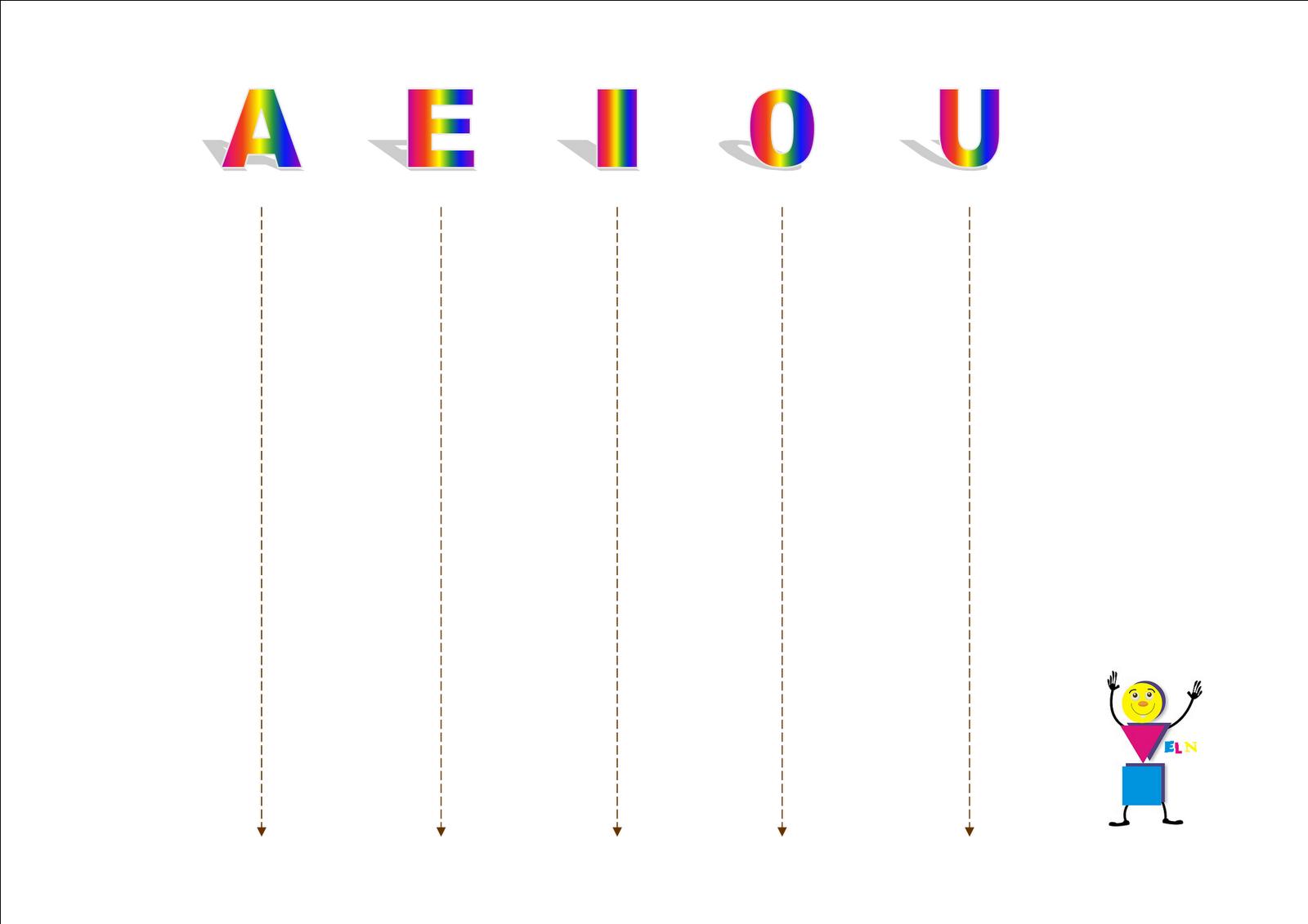vocales Fichas para practicar los trazos verticales y horizontales