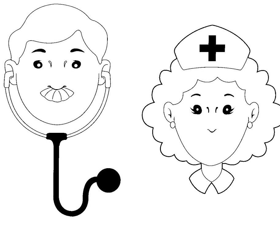 Dibujos para colorear de oficios doctor medico enfermera