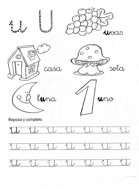 Fichas de grafomotricidad de las vocales para niños