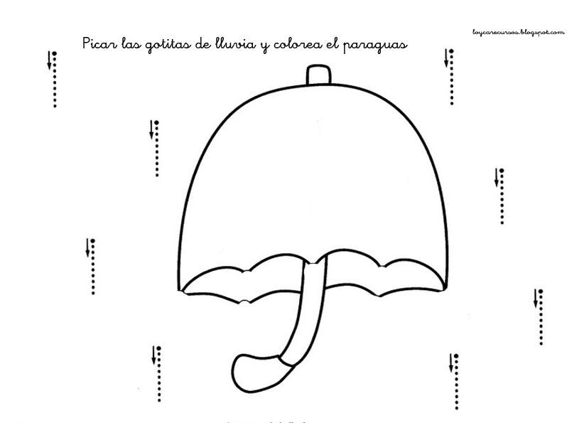 paraguas Fichas para practicar los trazos verticales y horizontales