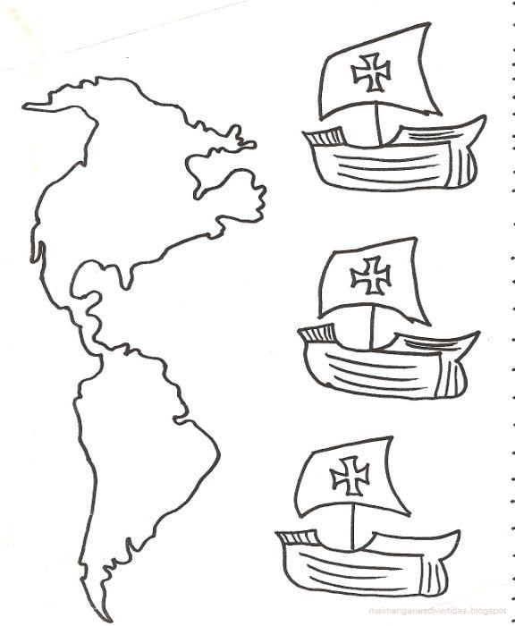 Dibujos para colorear de Cristobal Colón y sus carabelasWIKIPEKES ...