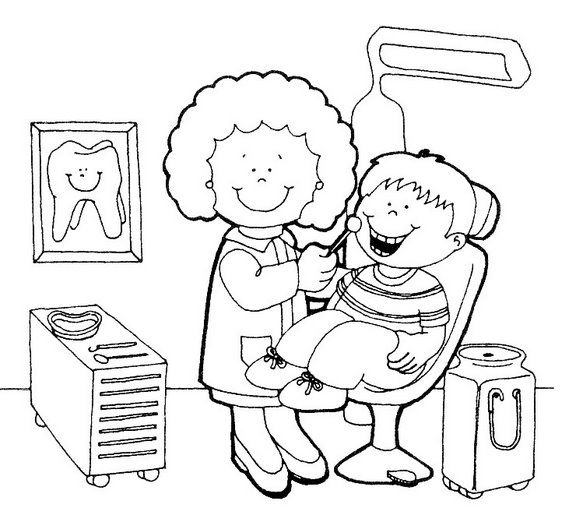 Dibujos para colorear de oficios dentista