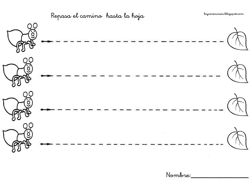Fichas para practicar los trazos verticales y horizontales