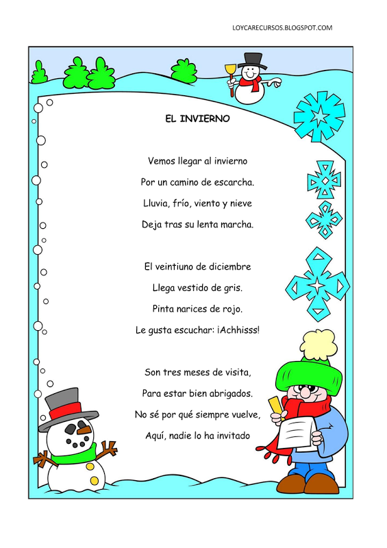 Poemas y rimas infantiles del invierno