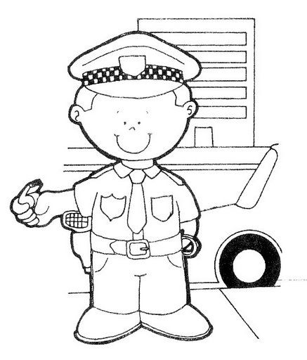 Dibujos para colorear de oficios policía