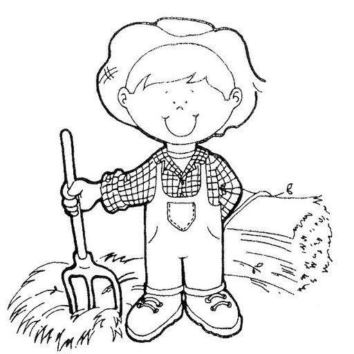 Dibujos para colorear de oficios granjero