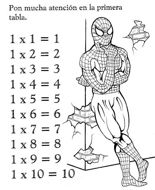 Tablas De Multiplicar De Spiderman