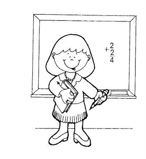 Dibujos para colorear de oficios maestra