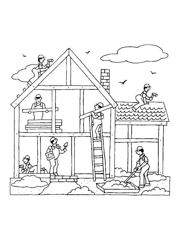Dibujos para colorear de oficios albañil constructor
