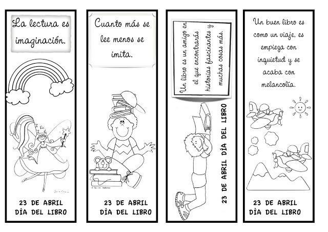 Día del Libro, material didáctico marcador de libros