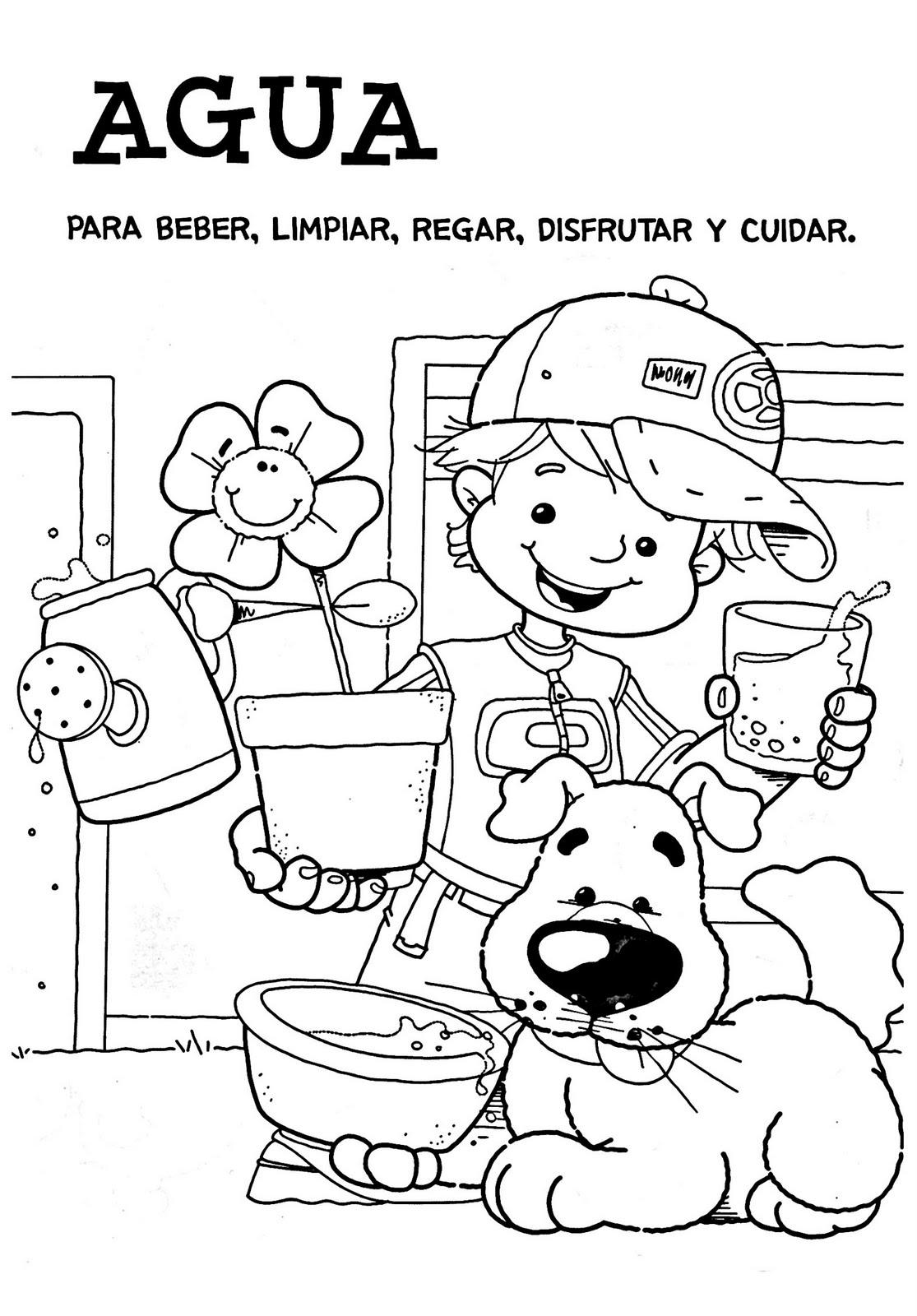 Dibujos para colorear del día del Agua para niños