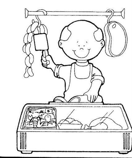 Dibujos para colorear de oficios carnicero