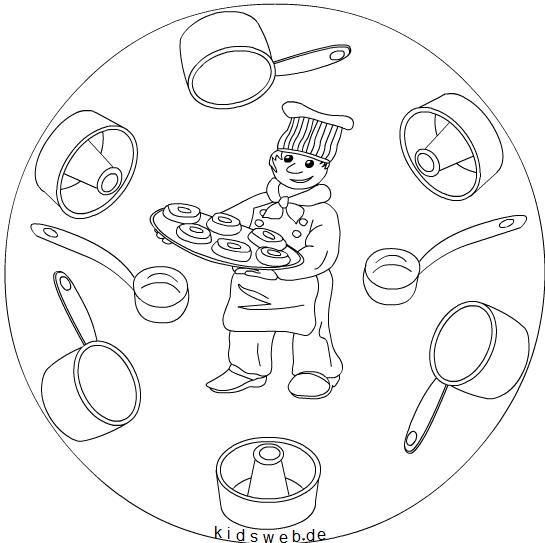 Dibujos para colorear de oficios cocinero