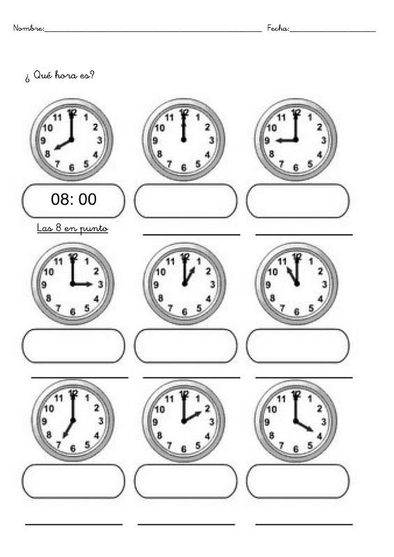 Fichas con ejercicios para aprender las horas