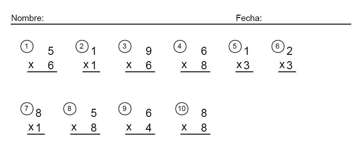 Fichas de multiplicaciones de primaria