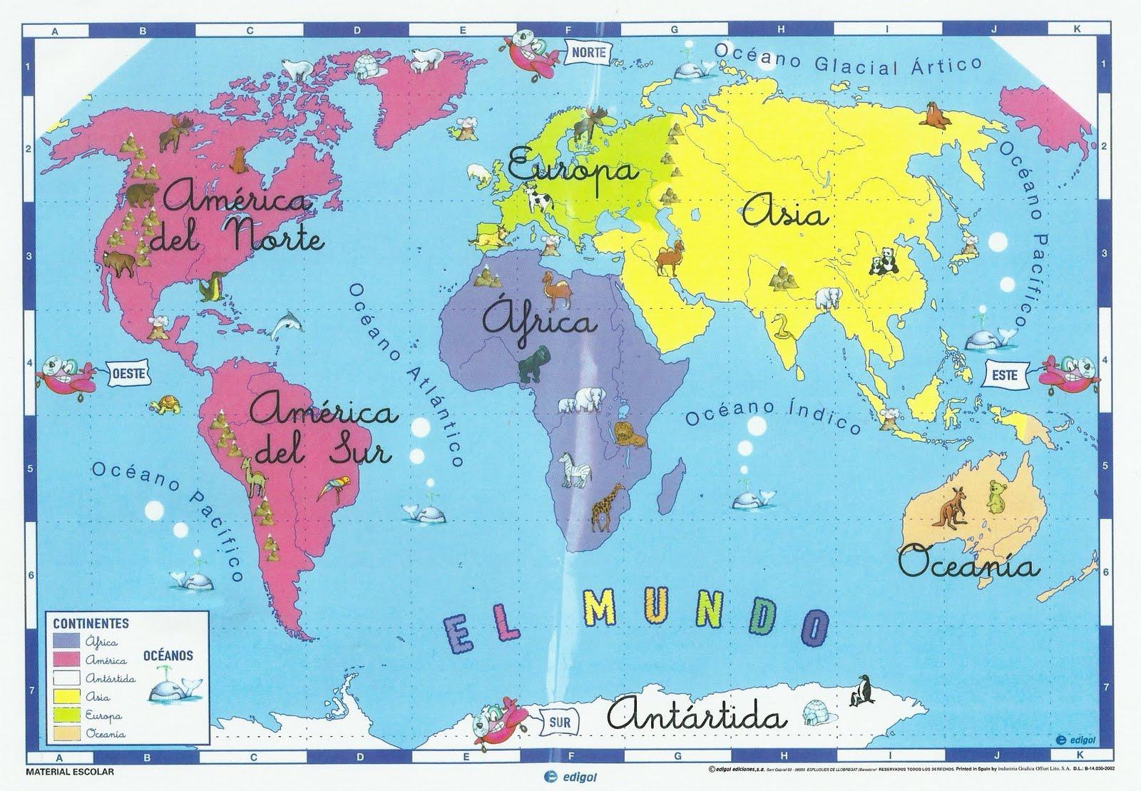 Mapa del mundo infantil para niños
