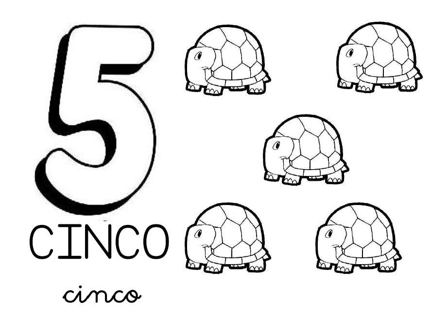 Los números para colorear cinco