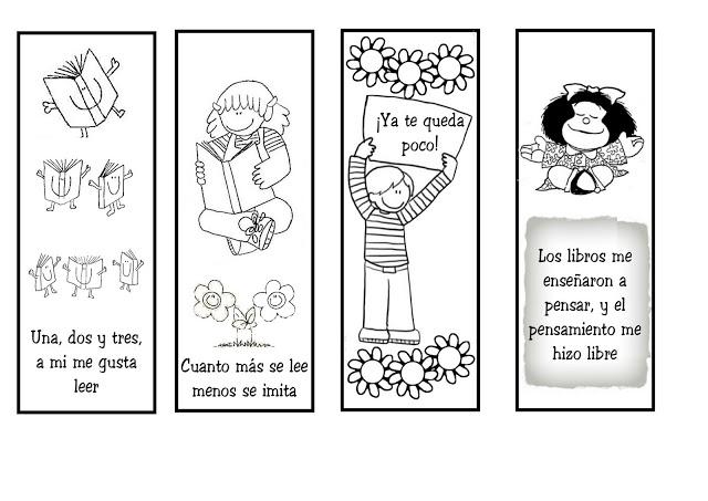 Día del Libro, material didáctico marca paginas