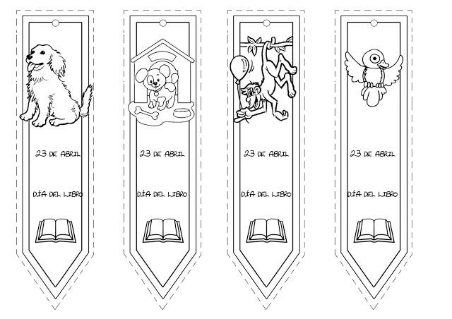 Separadores de libros para niños para colorear dia del libro - Imagui