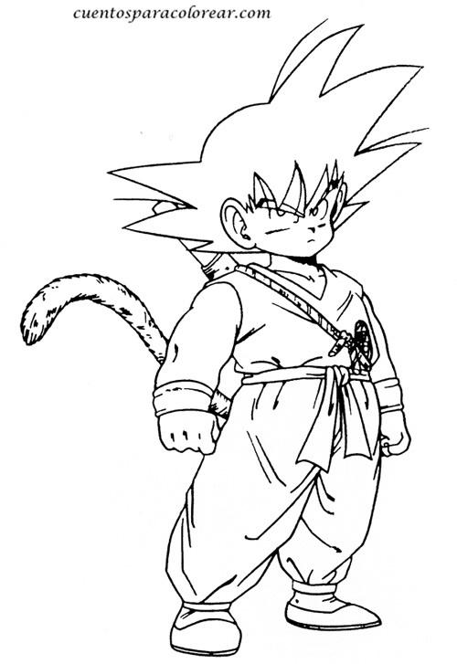Dibujos para colorear e imprimir de Son Goku para niños