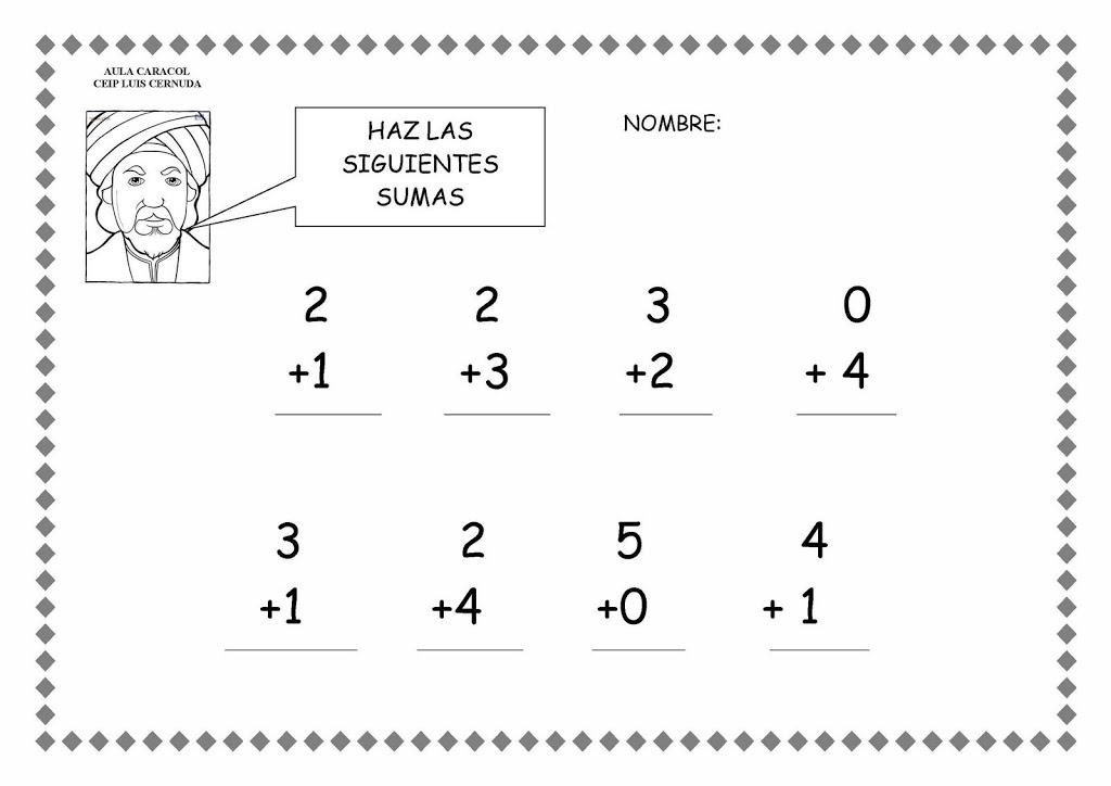 de la escuela con ilustraciones de objetos para contar y sumar