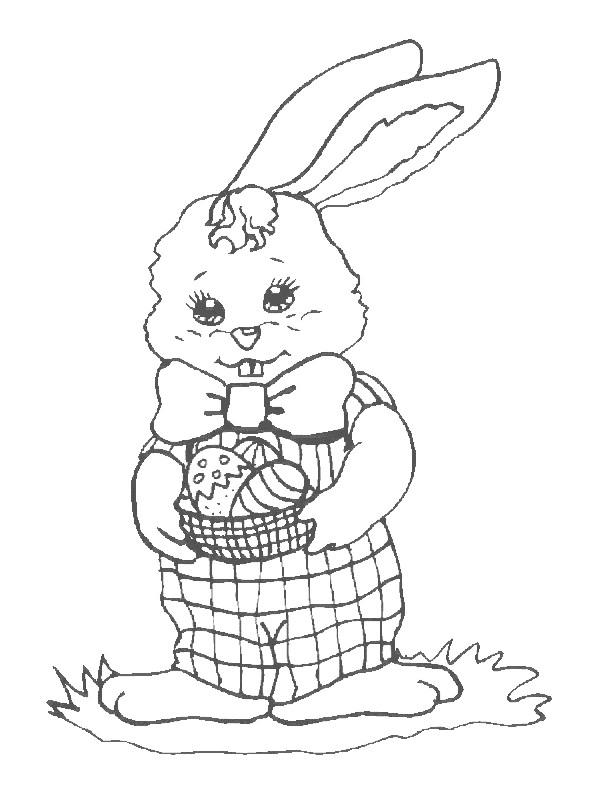 Dibujos para colorear de conejos y huevos de pascua para niños
