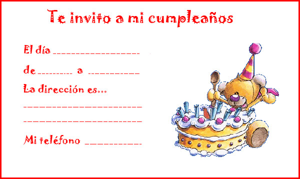 Tarjetas de invitación de cumpleaños niños - Imagui