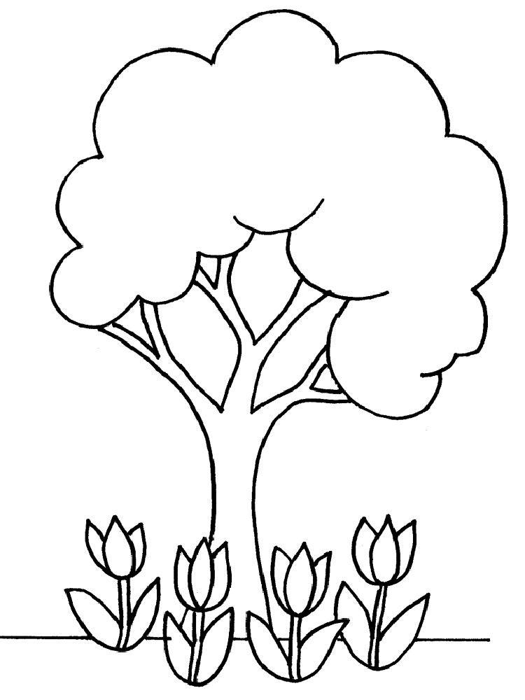 arbol-flores Dibujos de árboles para colorear
