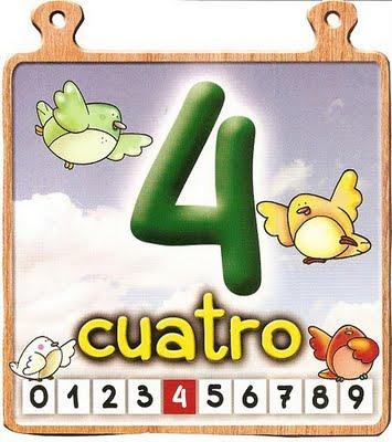 cuatro 4 Los números del 0 al 10