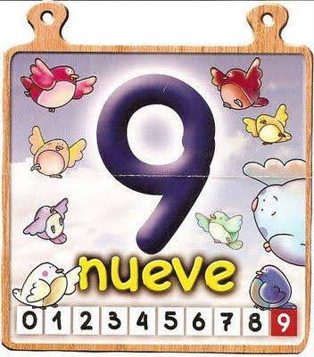nueve 9 Los números del 0 al 10