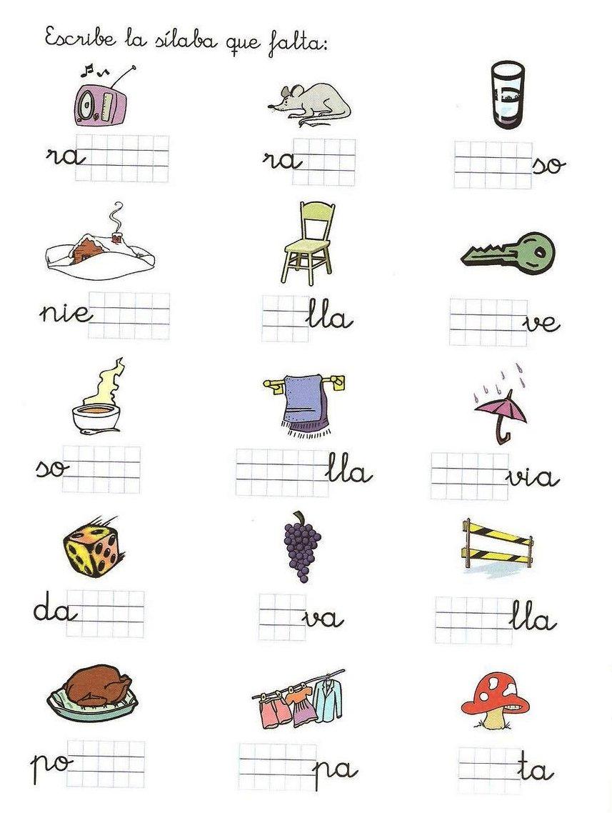 Fichas de ejercicios con sílabas rellena la silaba que falta