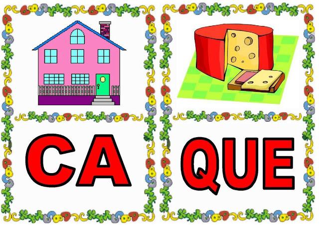 Cartas de sílabas CA-QUE