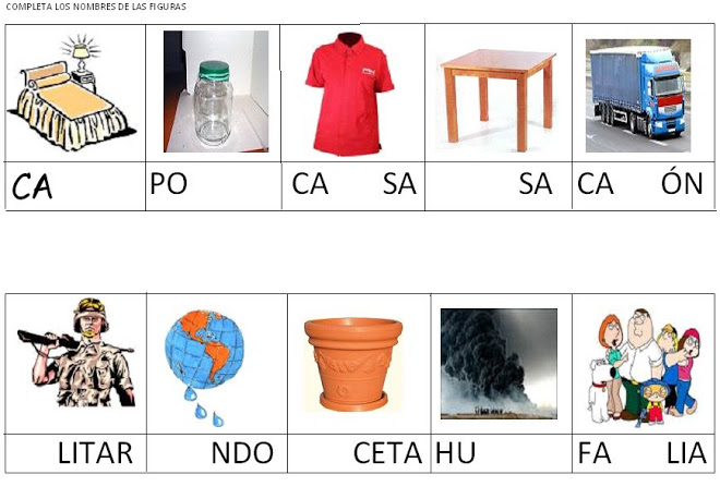Fichas de ejercicios con sílabas adivina las que faltan
