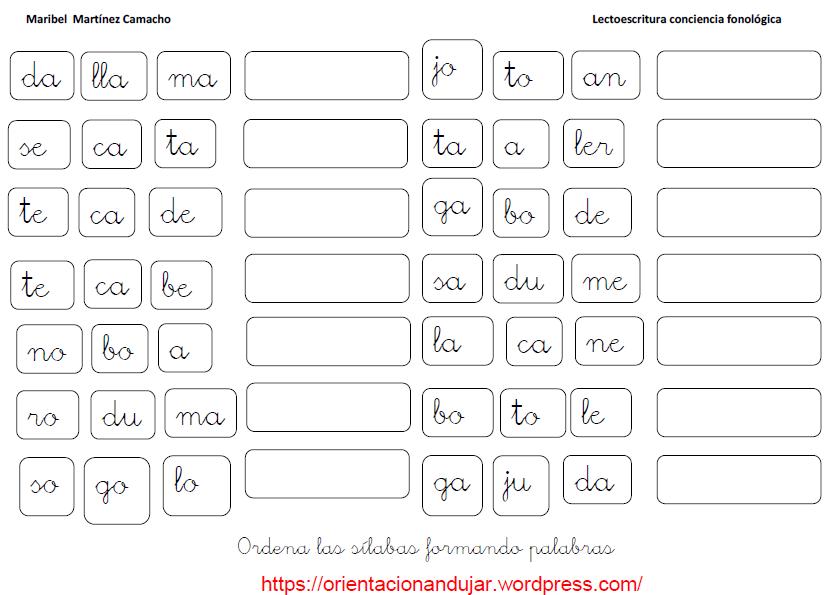 Fichas de ejercicios con sílabas ordenar para formar una palabra