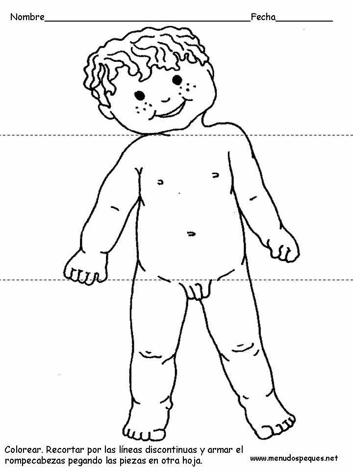 Cuerpo Humano para colorear pintar - Niño