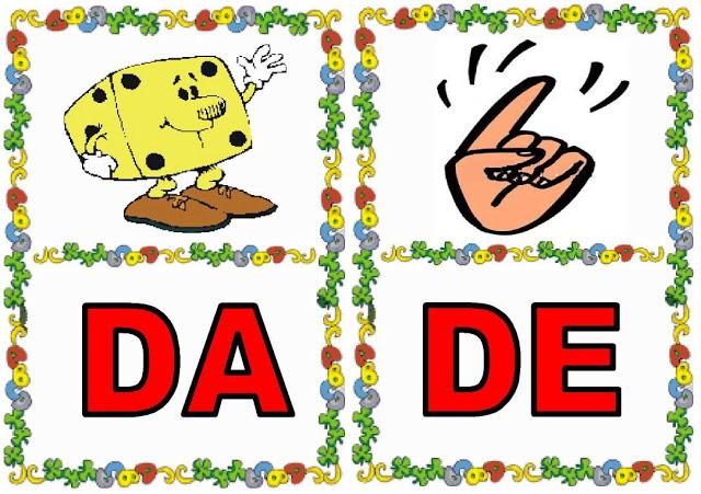 Cartas de sílabas DA-DE