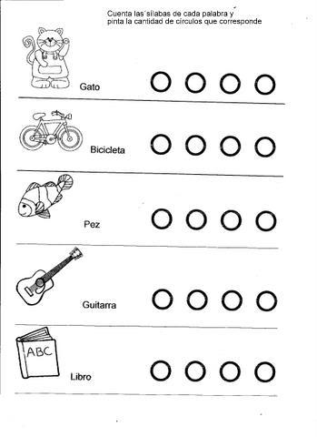 cuantas sílabas hay? Fichas de ejercicios con sílabas