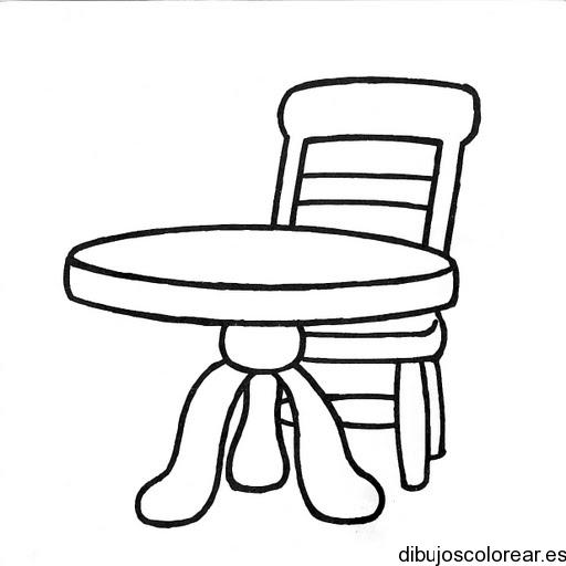 dibujos de sillas con una mesa