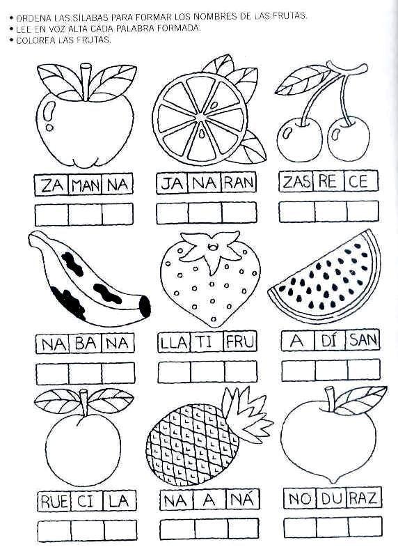 Fichas de ejercicios para ordenar las sílabas