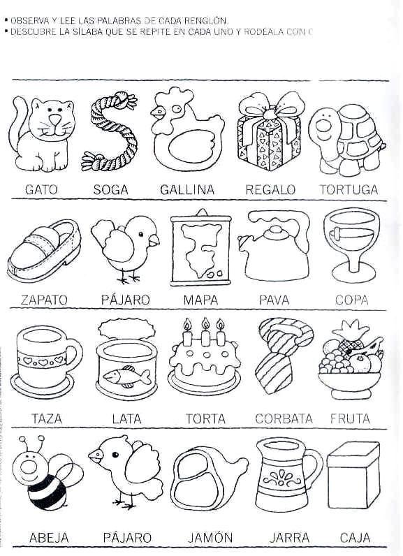 Fichas de ejercicios con sílabas